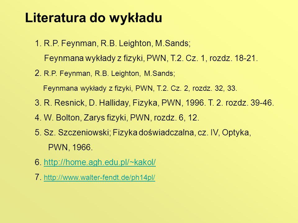 Literatura do wykładu 1. R.P. Feynman, R.B. Leighton, M.Sands; Feynmana wykłady z fizyki, PWN, T.2. Cz. 1, rozdz. 18-21. 2. R.P. Feynman, R.B. Leighto