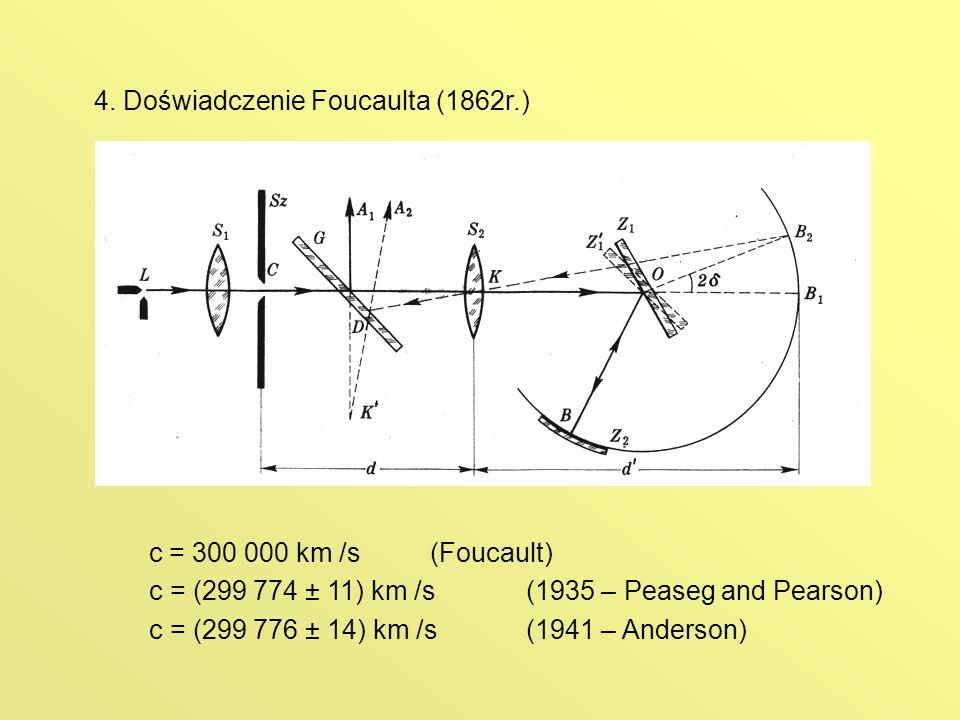 4. Doświadczenie Foucaulta (1862r.) c = 300 000 km /s(Foucault) c = (299 774 ± 11) km /s(1935 – Peaseg and Pearson) c = (299 776 ± 14) km /s(1941 – An
