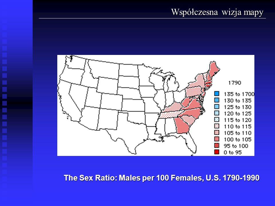 The Sex Ratio: Males per 100 Females, U.S. 1790-1990 Współczesna wizja mapy