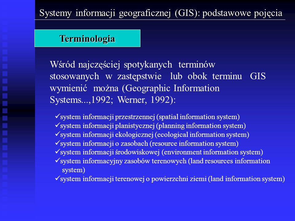 Systemy informacji geograficznej (GIS): podstawowe pojęcia Terminologia Wśród najczęściej spotykanych terminów stosowanych w zastępstwie lub obok term