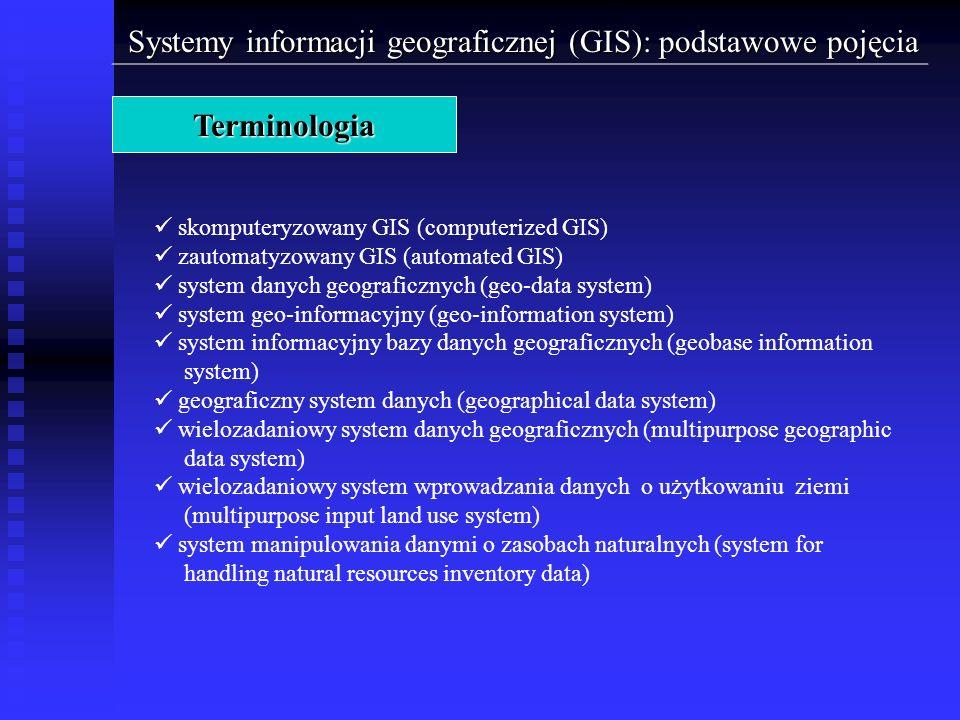 Systemy informacji geograficznej (GIS): podstawowe pojęcia Terminologia skomputeryzowany GIS (computerized GIS) zautomatyzowany GIS (automated GIS) sy