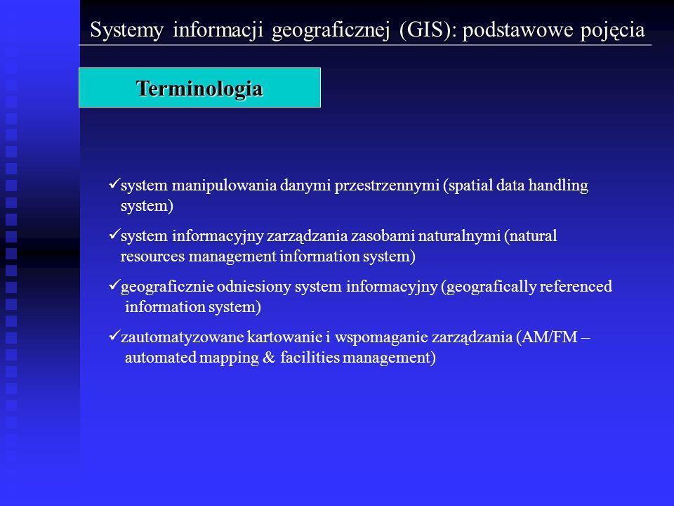 Systemy informacji geograficznej (GIS): podstawowe pojęcia Terminologia system manipulowania danymi przestrzennymi (spatial data handling system) syst