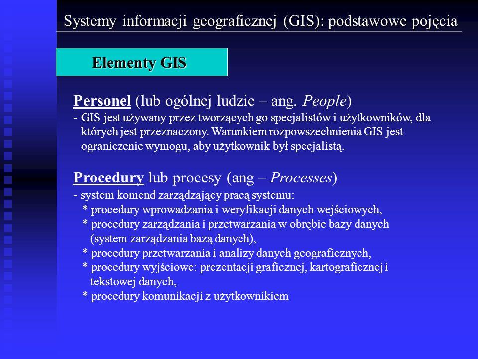 Systemy informacji geograficznej (GIS): podstawowe pojęcia Elementy GIS Personel (lub ogólnej ludzie – ang. People) -GIS jest używany przez tworzących