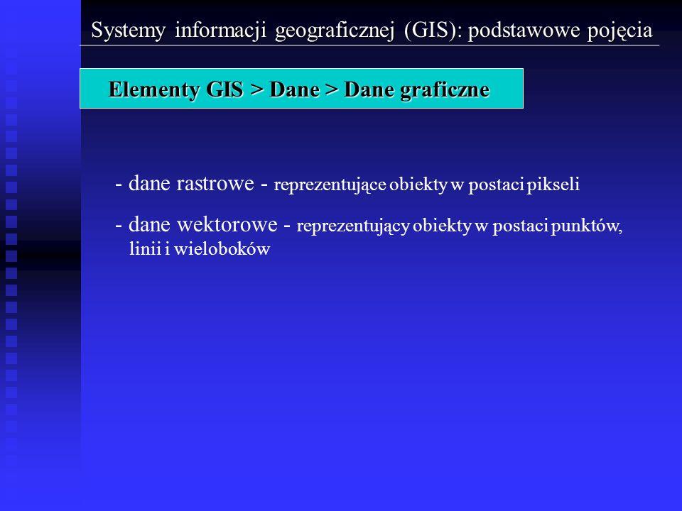 Systemy informacji geograficznej (GIS): podstawowe pojęcia Elementy GIS > Dane > Dane graficzne - dane rastrowe - reprezentujące obiekty w postaci pik