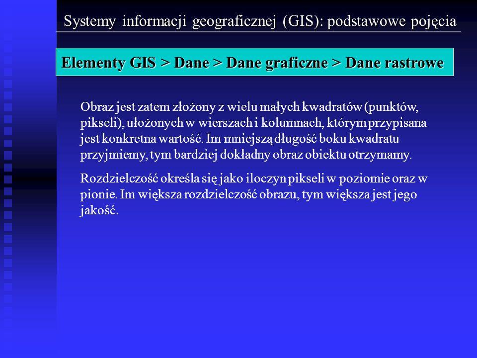 Systemy informacji geograficznej (GIS): podstawowe pojęcia Elementy GIS > Dane > Dane graficzne > Dane rastrowe Obraz jest zatem złożony z wielu małyc
