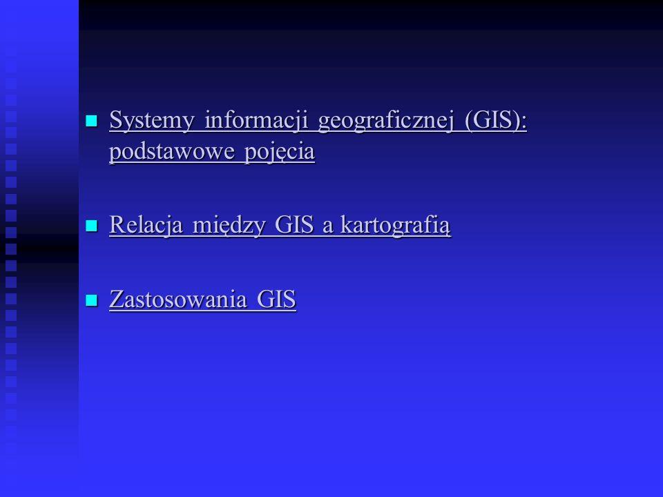 Systemy informacji geograficznej (GIS): podstawowe pojęcia Terminologia system manipulowania danymi przestrzennymi (spatial data handling system) system informacyjny zarządzania zasobami naturalnymi (natural resources management information system) geograficznie odniesiony system informacyjny (geografically referenced information system) zautomatyzowane kartowanie i wspomaganie zarządzania (AM/FM – automated mapping & facilities management)