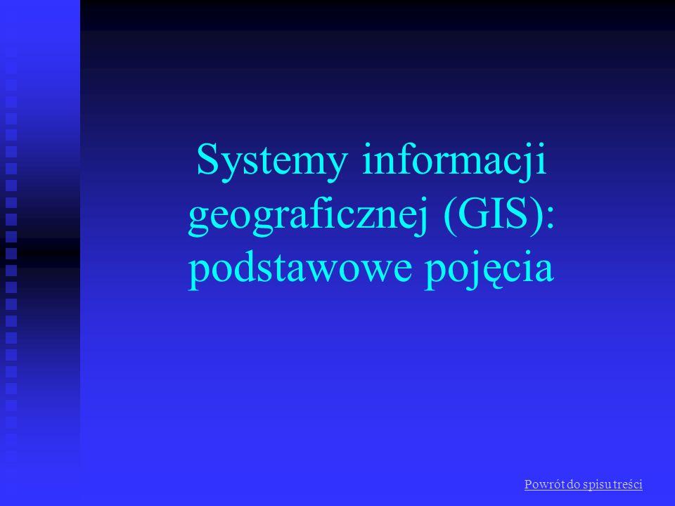 Systemy informacji geograficznej (GIS): podstawowe pojęcia Co to jest GIS System - skoordynowany układ elementów, zbiór tworzący pewną całość uwarunkowaną stałym, logicznym uporządkowaniem jego części składowych System informacyjny – łańcuch operacji, na który składają się: planowanie obserwacji i gromadzenia danych, magazynowanie i operowanie danymi oraz ich analiza i w efekcie wykorzystanie posiadanych danych w procesach podejmowania decyzji System informacji geograficznej - system pozyskiwania, przetwarzania i udostępniania danych, w których zawarte są informacje o położeniu, geometrycznych właściwościach i przestrzennych relacjach oraz towarzyszące im informacje opisowe o obiektach i zjawiskach światu rzeczywistego
