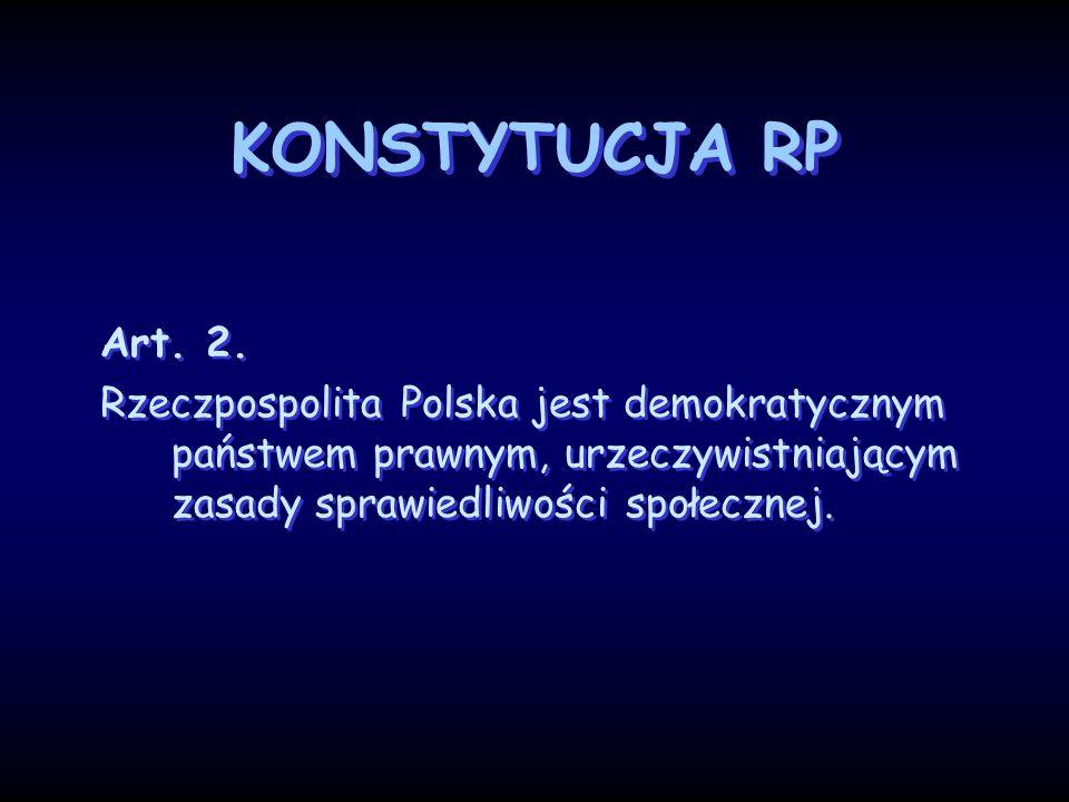 KONSTYTUCJA RP Art. 2. Rzeczpospolita Polska jest demokratycznym państwem prawnym, urzeczywistniającym zasady sprawiedliwości społecznej. Art. 2. Rzec