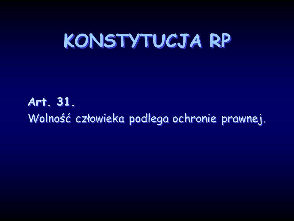 KONSTYTUCJA RP Art. 31. Wolność człowieka podlega ochronie prawnej. Art. 31. Wolność człowieka podlega ochronie prawnej.