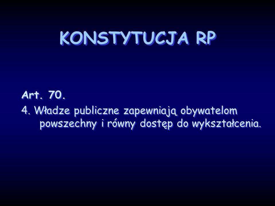 KONSTYTUCJA RP Art. 70. 4. Władze publiczne zapewniają obywatelom powszechny i równy dostęp do wykształcenia. Art. 70. 4. Władze publiczne zapewniają