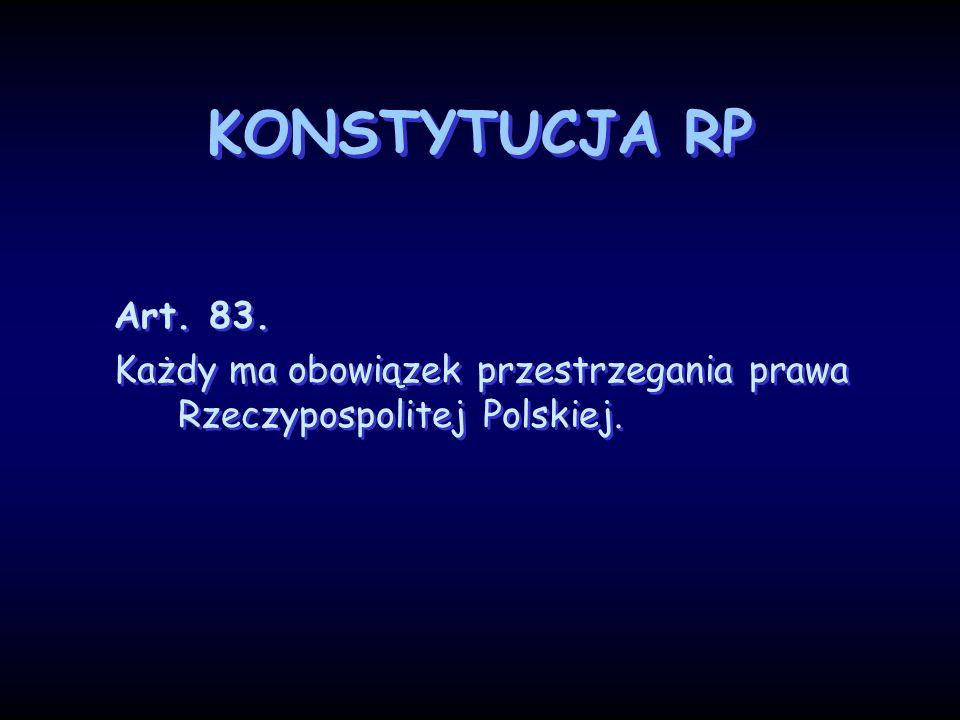 KONSTYTUCJA RP Art. 83. Każdy ma obowiązek przestrzegania prawa Rzeczypospolitej Polskiej. Art. 83. Każdy ma obowiązek przestrzegania prawa Rzeczyposp