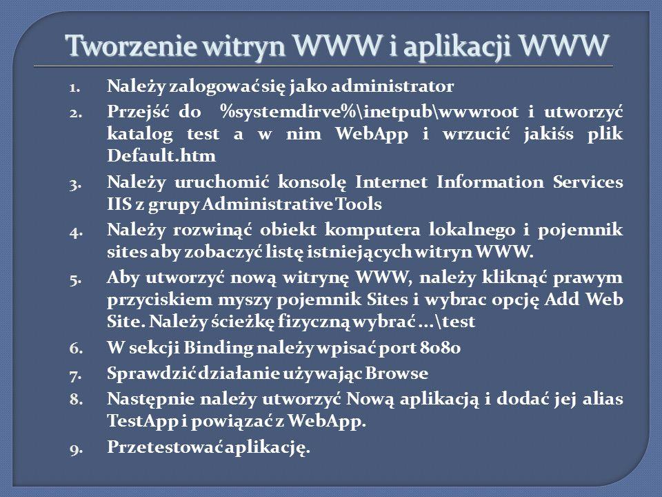 Tworzenie witryn WWW i aplikacji WWW Tworzenie witryn WWW i aplikacji WWW 1. Należy zalogować się jako administrator 2. Przejść do %systemdirve%\inetp