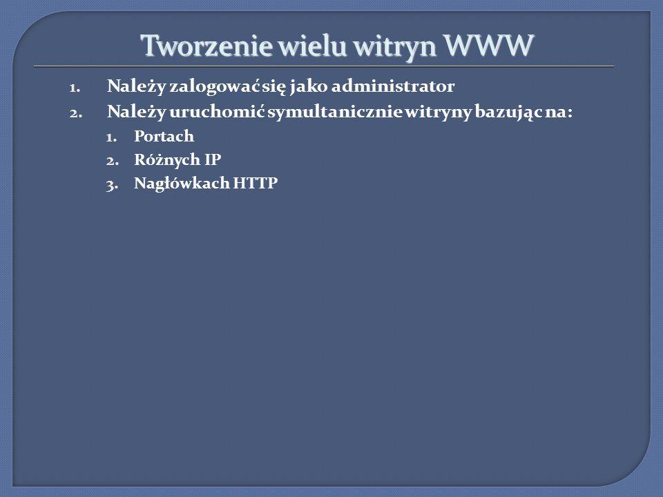 Tworzenie wielu witryn WWW Tworzenie wielu witryn WWW 1. Należy zalogować się jako administrator 2. Należy uruchomić symultanicznie witryny bazując na