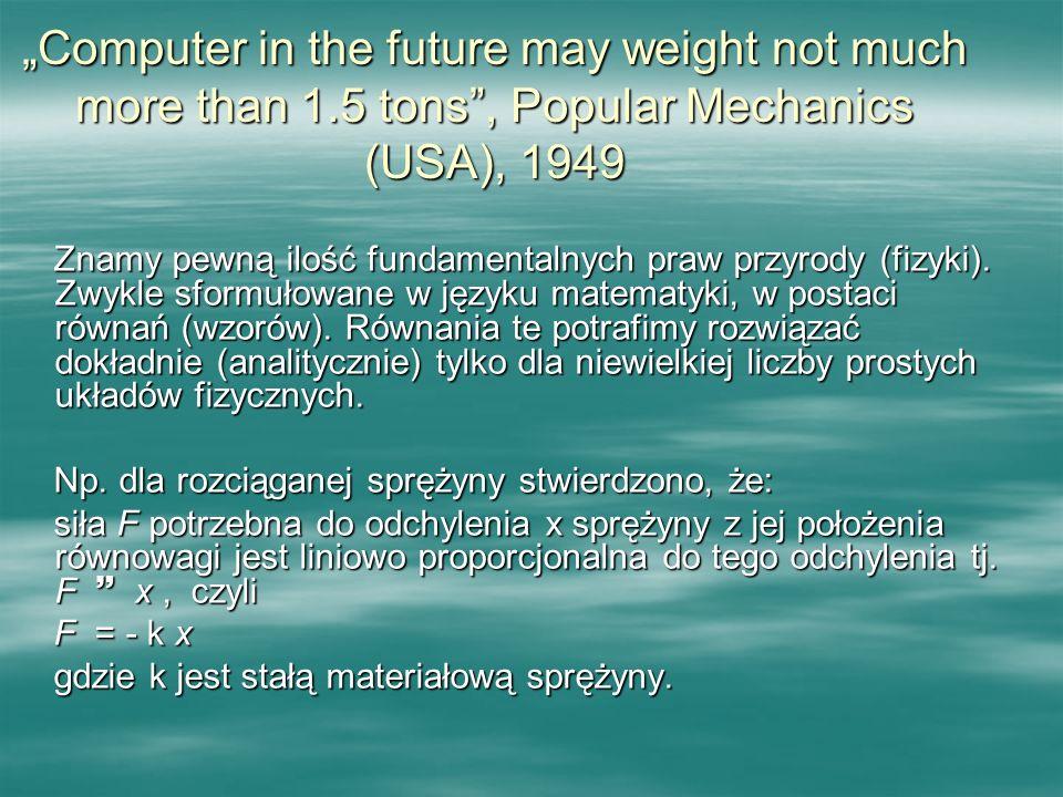 Computer in the future may weight not much more than 1.5 tons, Popular Mechanics (USA), 1949 Znamy pewną ilość fundamentalnych praw przyrody (fizyki).