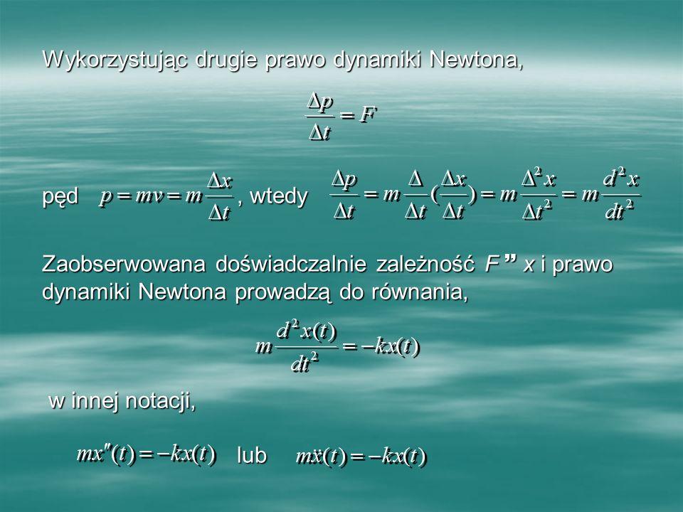 Wykorzystując drugie prawo dynamiki Newtona, pęd, wtedy Zaobserwowana doświadczalnie zależność F x i prawo dynamiki Newtona prowadzą do równania, w in