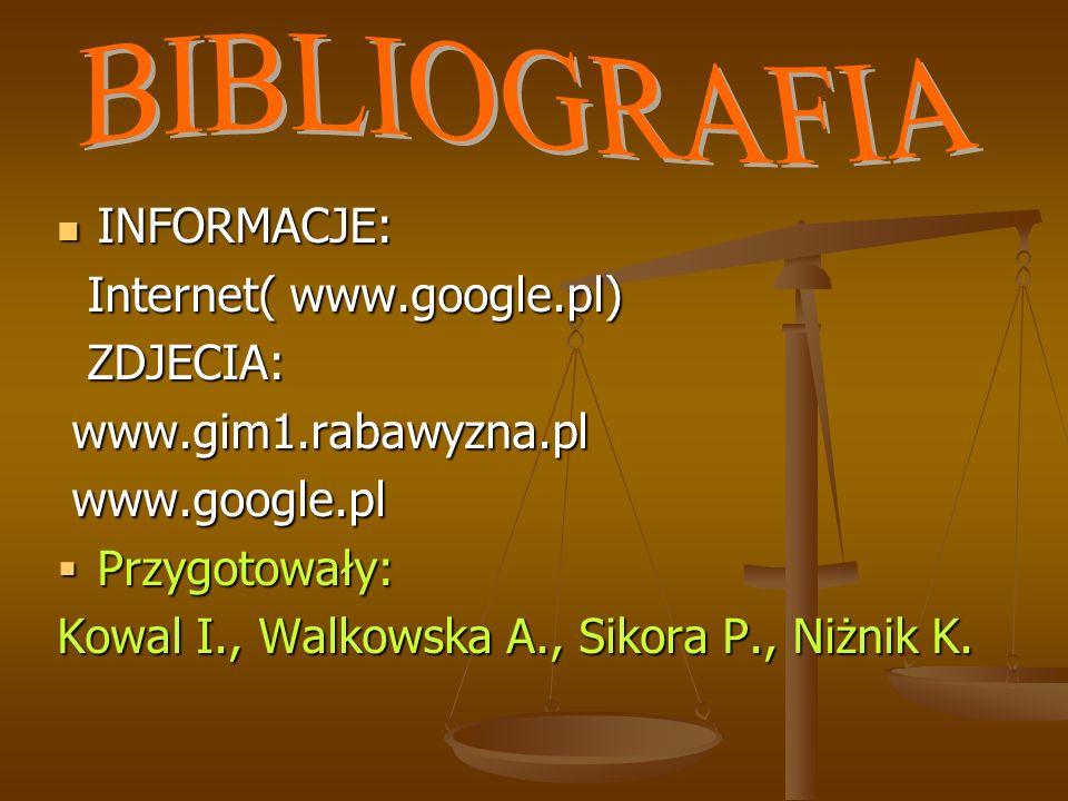 INFORMACJE: INFORMACJE: Internet( www.google.pl) Internet( www.google.pl) ZDJECIA: ZDJECIA: www.gim1.rabawyzna.pl www.gim1.rabawyzna.pl www.google.pl