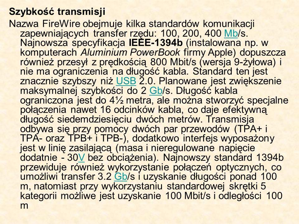 Szybkość transmisji Nazwa FireWire obejmuje kilka standardów komunikacji zapewniających transfer rzędu: 100, 200, 400 Mb/s. Najnowsza specyfikacja IEE