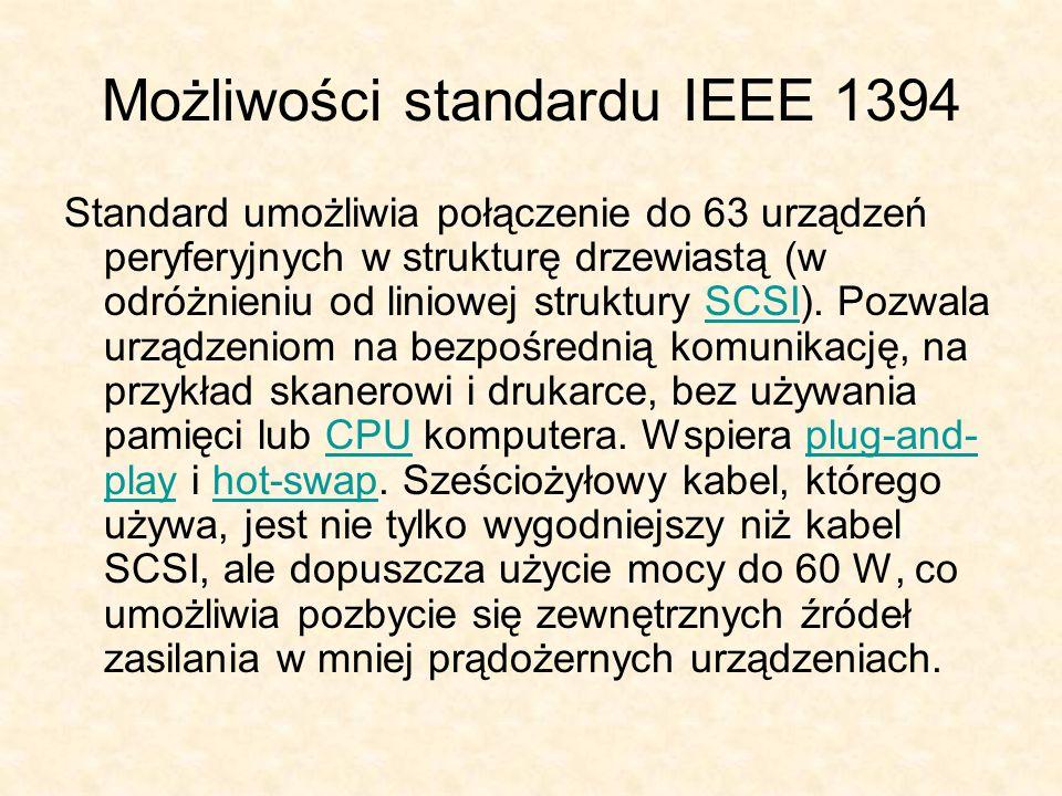 Możliwości standardu IEEE 1394 Standard umożliwia połączenie do 63 urządzeń peryferyjnych w strukturę drzewiastą (w odróżnieniu od liniowej struktury