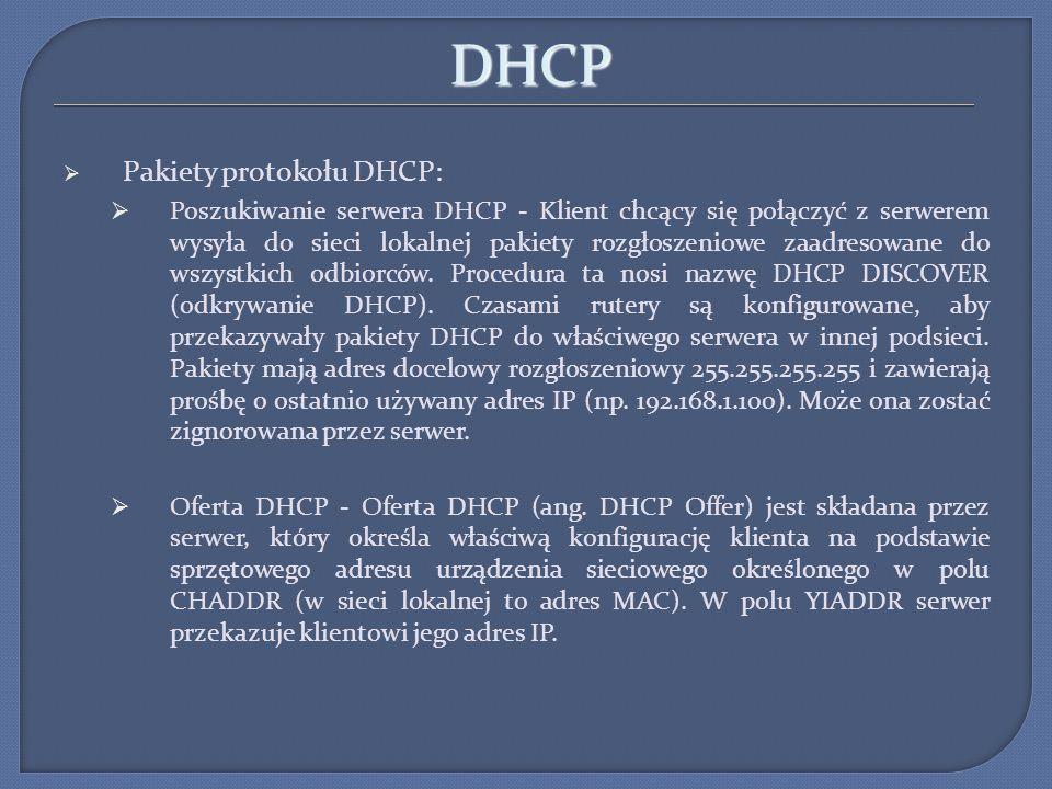 DHCP Pakiety protokołu DHCP: Żądanie DHCP - Żądanie DHCP (ang.