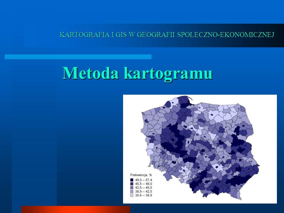 Kartogram prosty desenia kropkowego Inaczej nazywany kartogramem Bertina (od nazwiska kierownika laboratorium grafiki w Paryżu), opiera się na skalę 49 deseni składających się z kropek o ściśle obliczonej wielkości.
