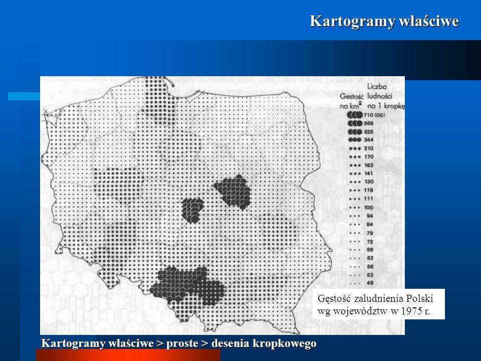Gęstość zaludnienia Polski wg województw w 1975 r. Kartogramy właściwe Kartogramy właściwe > proste > desenia kropkowego