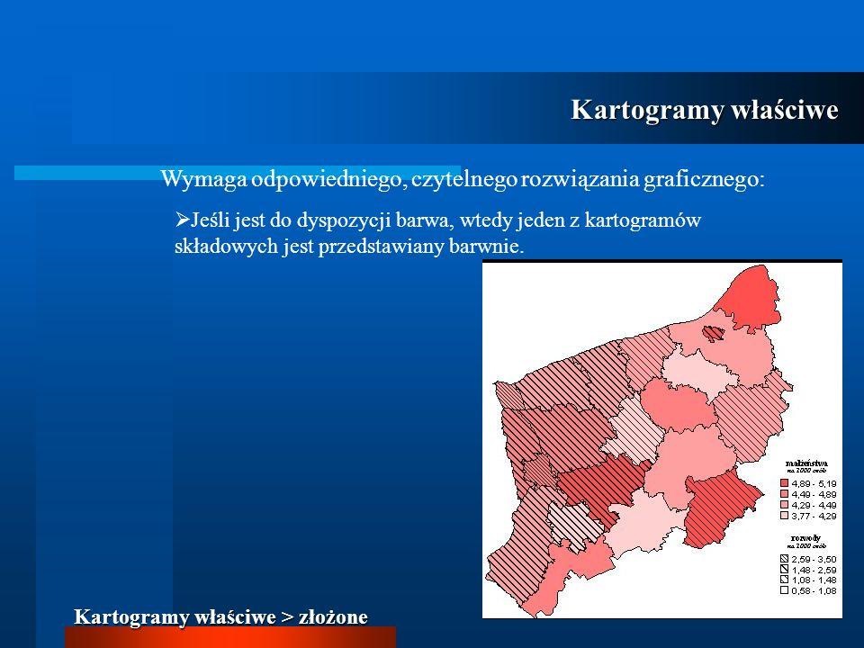 Kartogramy właściwe Kartogramy właściwe > złożone Wymaga odpowiedniego, czytelnego rozwiązania graficznego: Jeśli jest do dyspozycji barwa, wtedy jede