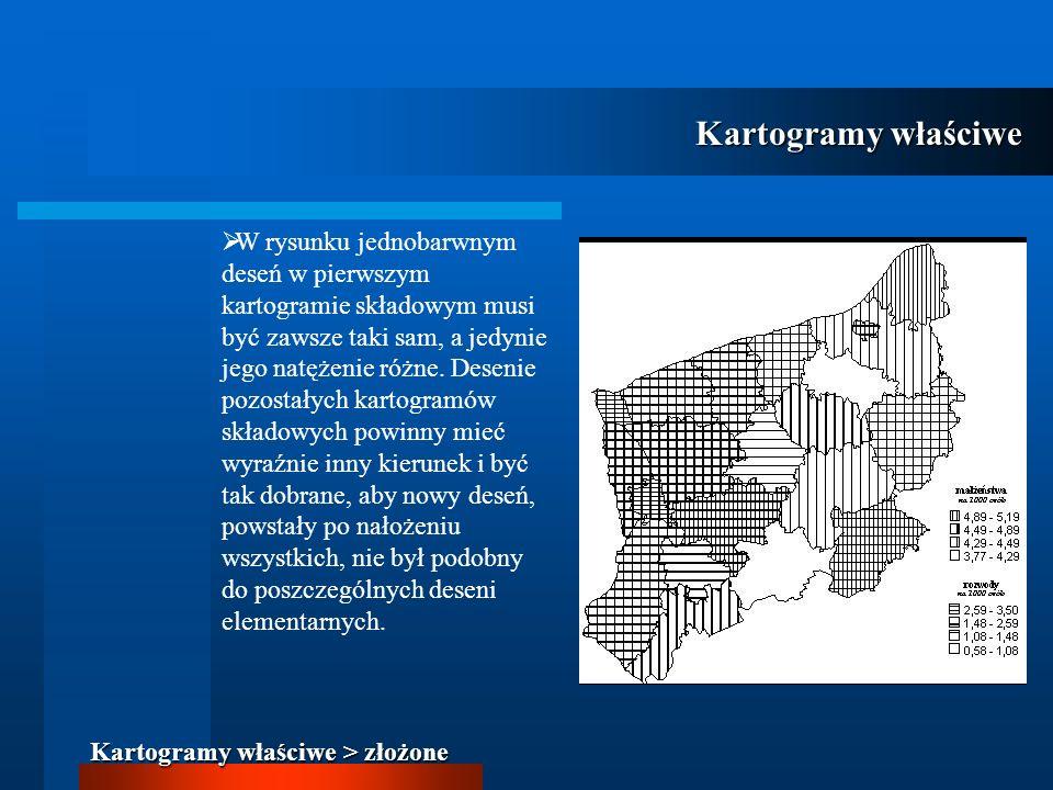 W rysunku jednobarwnym deseń w pierwszym kartogramie składowym musi być zawsze taki sam, a jedynie jego natężenie różne. Desenie pozostałych kartogram