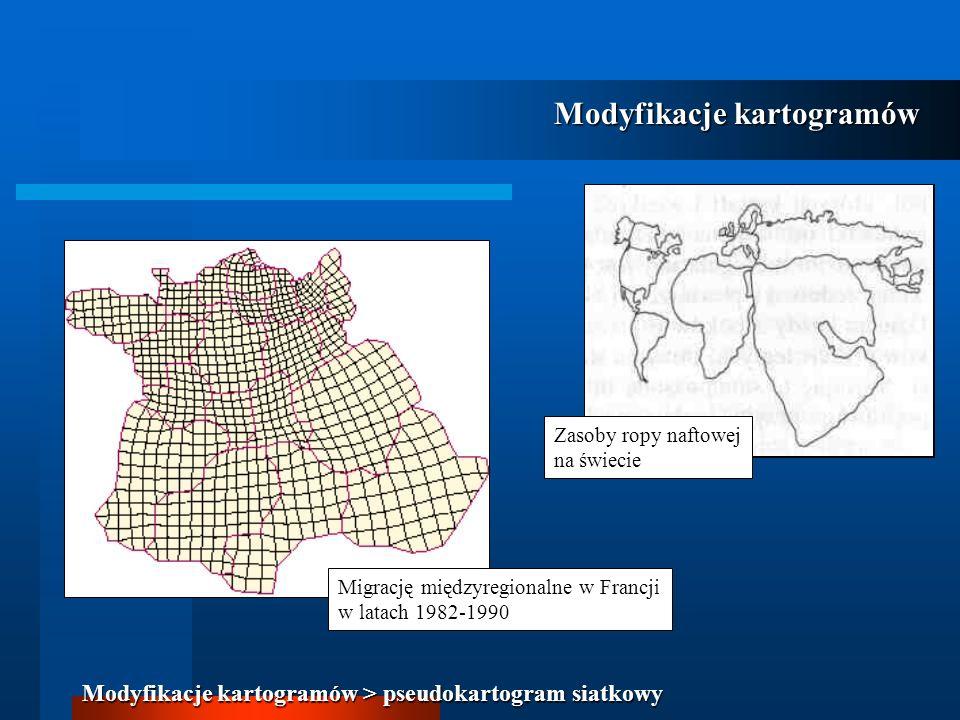 Migrację międzyregionalne w Francji w latach 1982-1990 Zasoby ropy naftowej na świecie Modyfikacje kartogramów Modyfikacje kartogramów > pseudokartogr