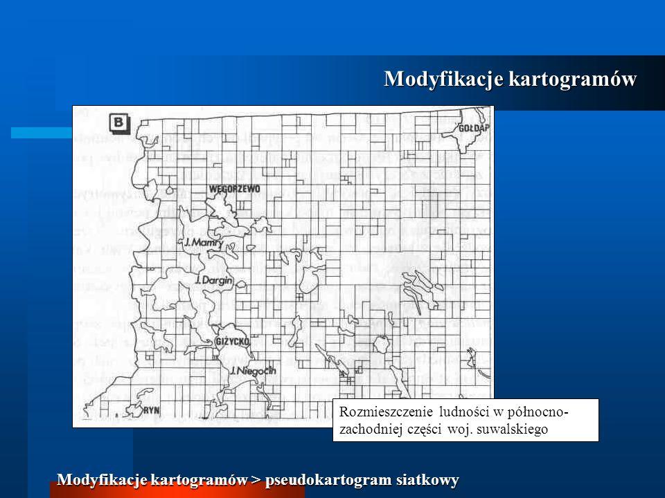 Rozmieszczenie ludności w północno- zachodniej części woj. suwalskiego Modyfikacje kartogramów Modyfikacje kartogramów > pseudokartogram siatkowy
