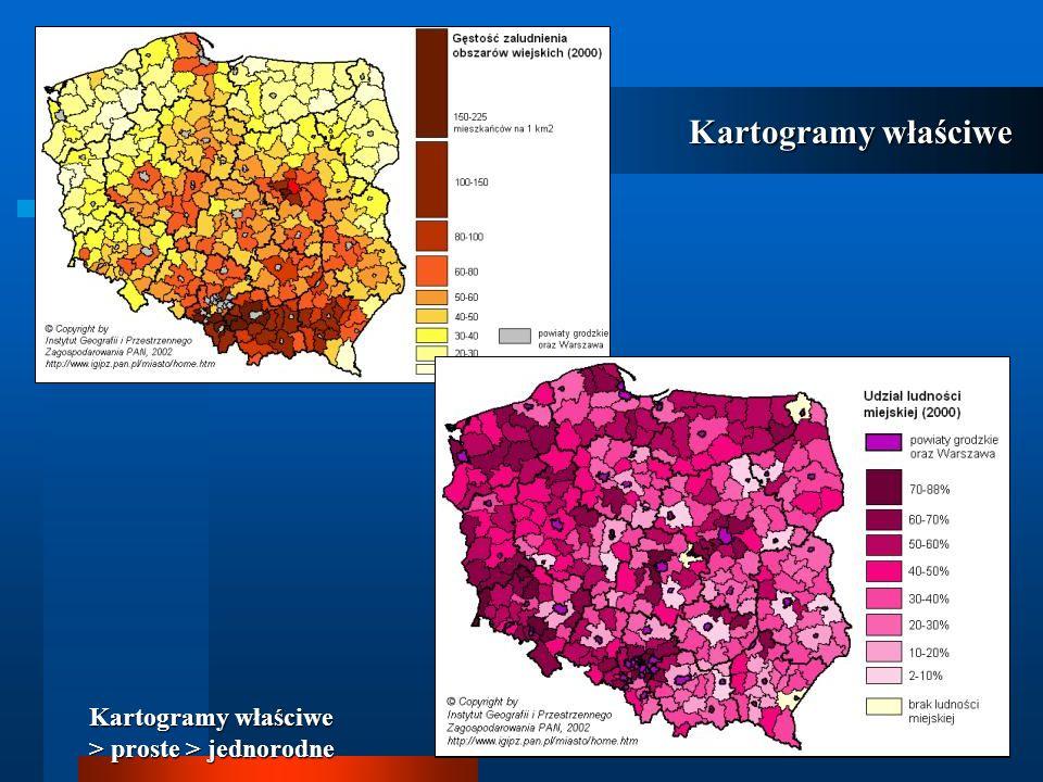Kartogramy właściwe Kartogramy właściwe > złożone Można też użyć deseni w różnych kolorach, zwracając przy tym uwagę, aby desenie miały wyraźnie zróżnicowany kierunek i tony dopełniające się.