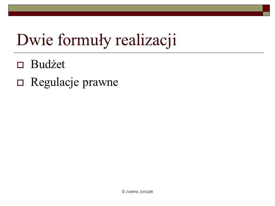 © Joanna Jonczek Dwie formuły realizacji Budżet Regulacje prawne