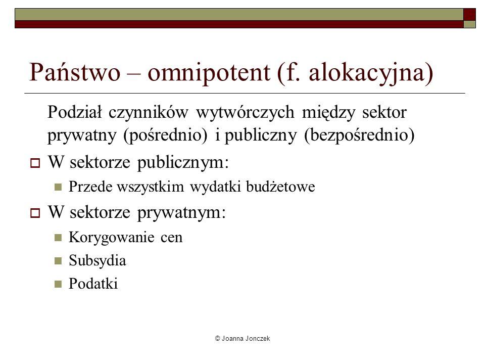 © Joanna Jonczek Państwo – omnipotent (f. alokacyjna) Podział czynników wytwórczych między sektor prywatny (pośrednio) i publiczny (bezpośrednio) W se