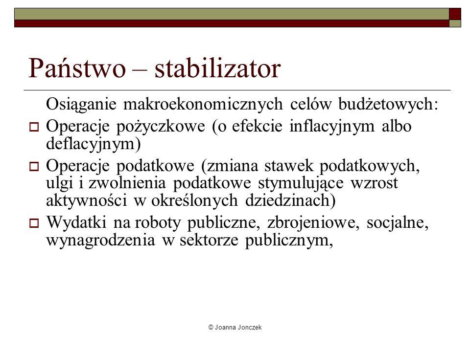 © Joanna Jonczek Państwo – stabilizator Osiąganie makroekonomicznych celów budżetowych: Operacje pożyczkowe (o efekcie inflacyjnym albo deflacyjnym) O
