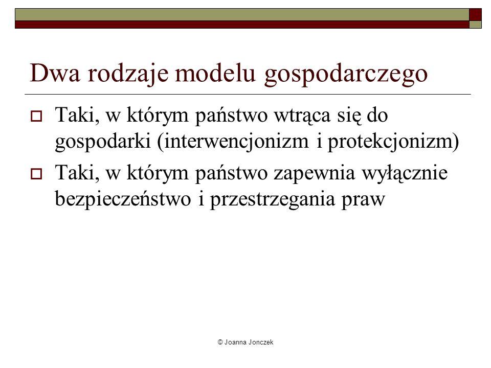 Dwa rodzaje modelu gospodarczego Taki, w którym państwo wtrąca się do gospodarki (interwencjonizm i protekcjonizm) Taki, w którym państwo zapewnia wył
