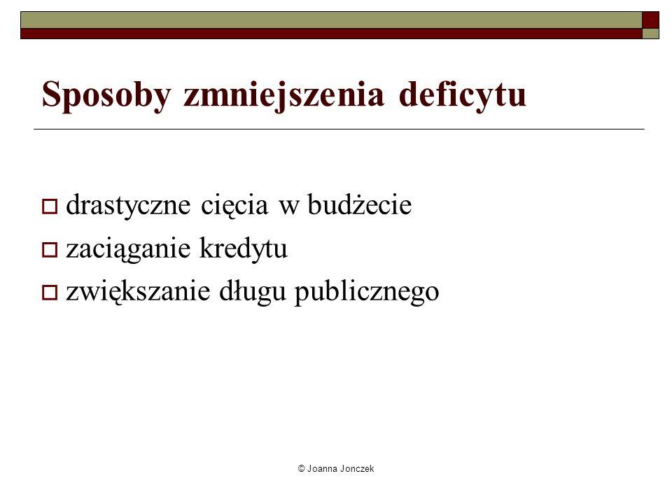 © Joanna Jonczek Sposoby zmniejszenia deficytu drastyczne cięcia w budżecie zaciąganie kredytu zwiększanie długu publicznego