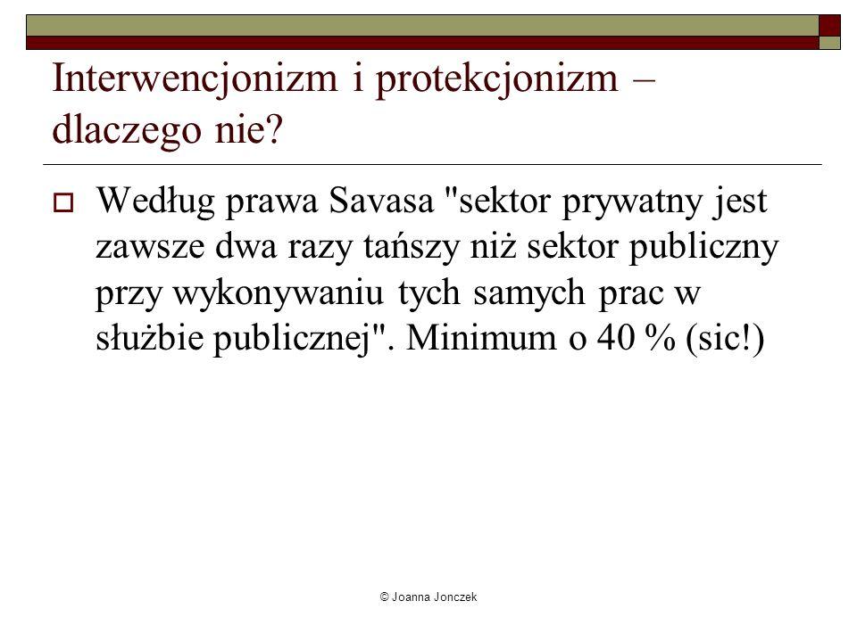 © Joanna Jonczek Interwencjonizm i protekcjonizm – dlaczego nie? Według prawa Savasa