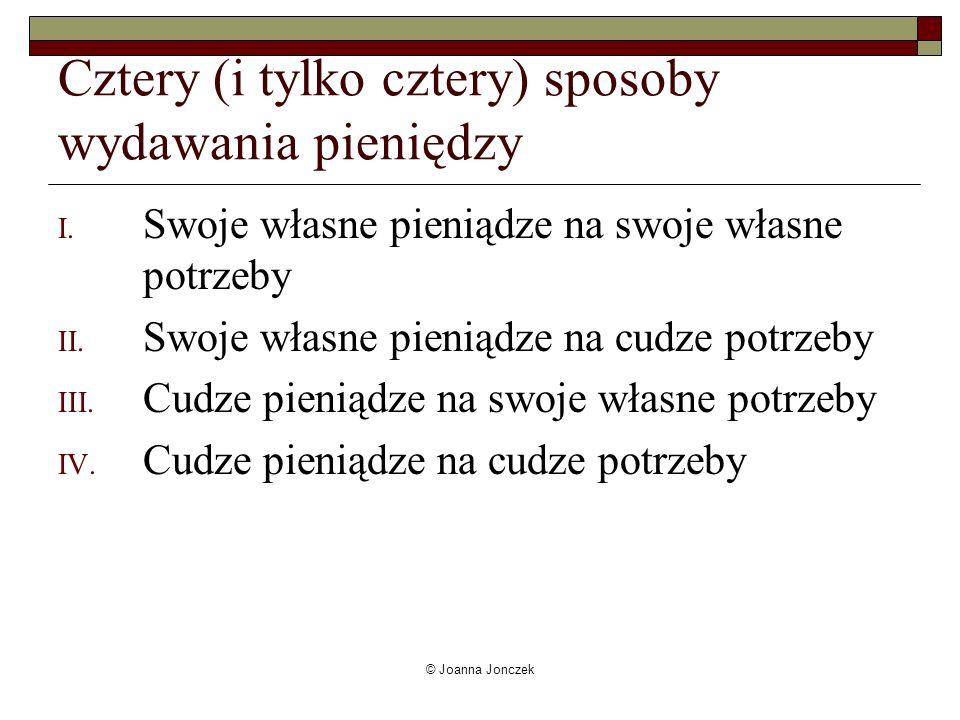 © Joanna Jonczek Cztery (i tylko cztery) sposoby wydawania pieniędzy I. Swoje własne pieniądze na swoje własne potrzeby II. Swoje własne pieniądze na