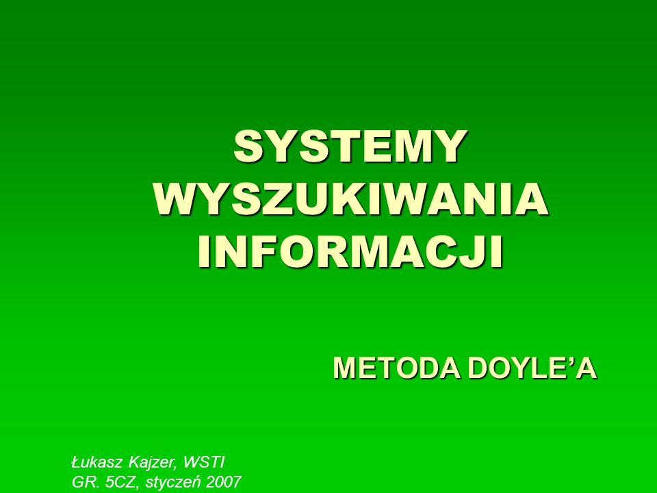 SYSTEMY WYSZUKIWANIA INFORMACJI METODA DOYLEA Łukasz Kajzer, WSTI GR. 5CZ, styczeń 2007