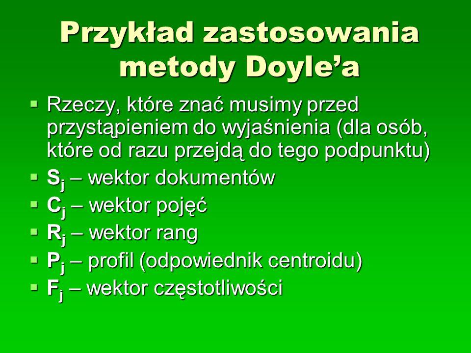 Przykład zastosowania metody Doylea Rzeczy, które znać musimy przed przystąpieniem do wyjaśnienia (dla osób, które od razu przejdą do tego podpunktu)