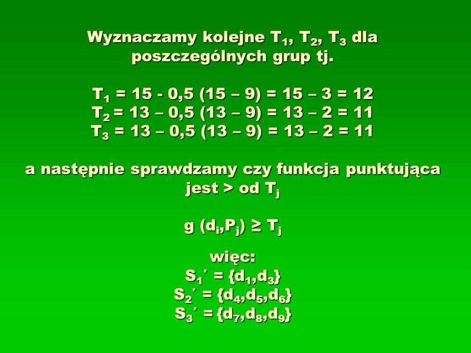 Wyznaczamy kolejne T 1, T 2, T 3 dla poszczególnych grup tj. T 1 = 15 - 0,5 (15 – 9) = 15 – 3 = 12 T 2 = 13 – 0,5 (13 – 9) = 13 – 2 = 11 T 3 = 13 – 0,
