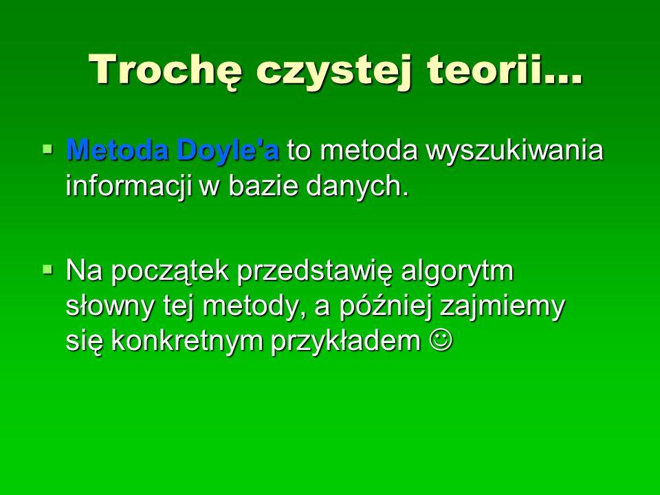 Trochę czystej teorii… Metoda Doyle'a to metoda wyszukiwania informacji w bazie danych. Metoda Doyle'a to metoda wyszukiwania informacji w bazie danyc