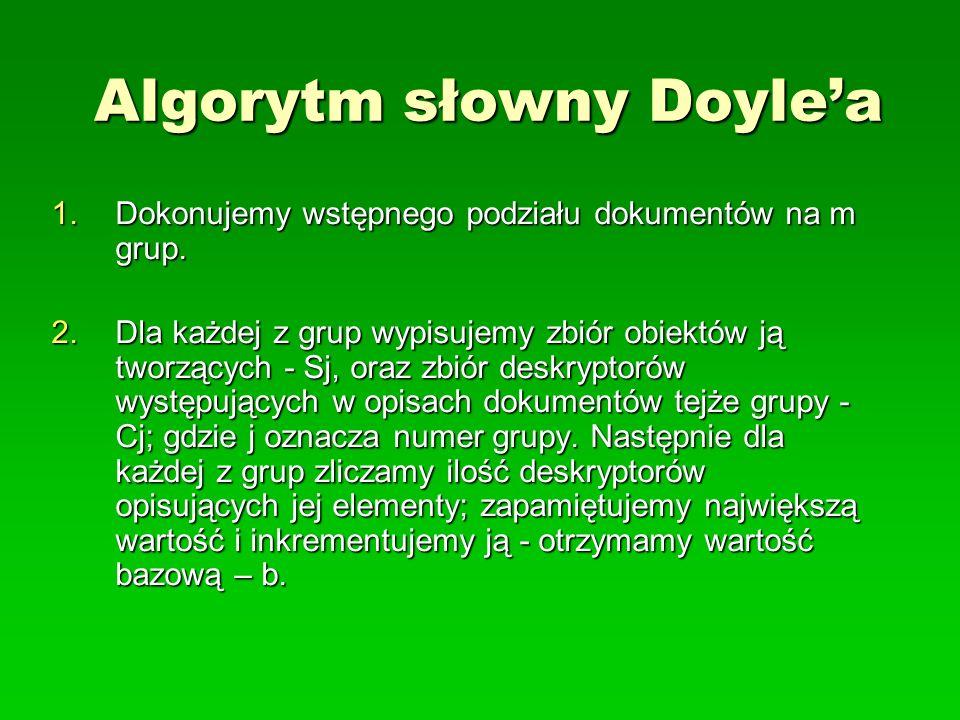 Algorytm słowny Doylea 1.Dokonujemy wstępnego podziału dokumentów na m grup. 2.Dla każdej z grup wypisujemy zbiór obiektów ją tworzących - Sj, oraz zb