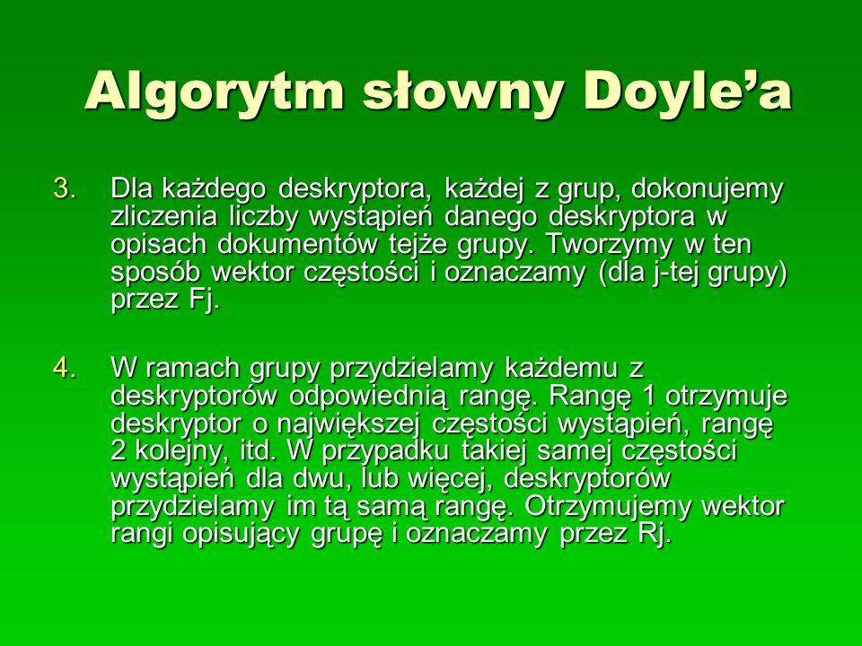 Algorytm słowny Doylea 3.Dla każdego deskryptora, każdej z grup, dokonujemy zliczenia liczby wystąpień danego deskryptora w opisach dokumentów tejże g
