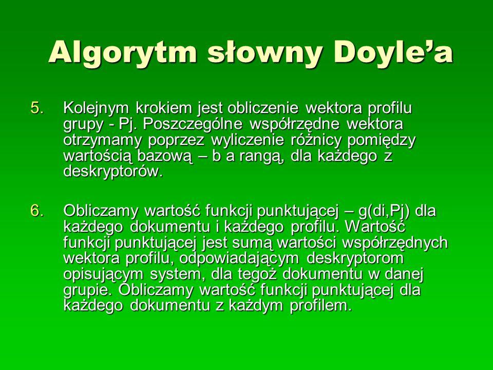 Algorytm słowny Doylea 5.Kolejnym krokiem jest obliczenie wektora profilu grupy - Pj. Poszczególne współrzędne wektora otrzymamy poprzez wyliczenie ró