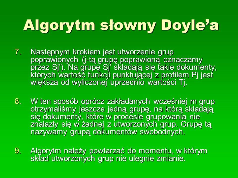 Algorytm słowny Doylea 7.Następnym krokiem jest utworzenie grup poprawionych (j-tą grupę poprawioną oznaczamy przez Sj). Na grupę Sj składają się taki
