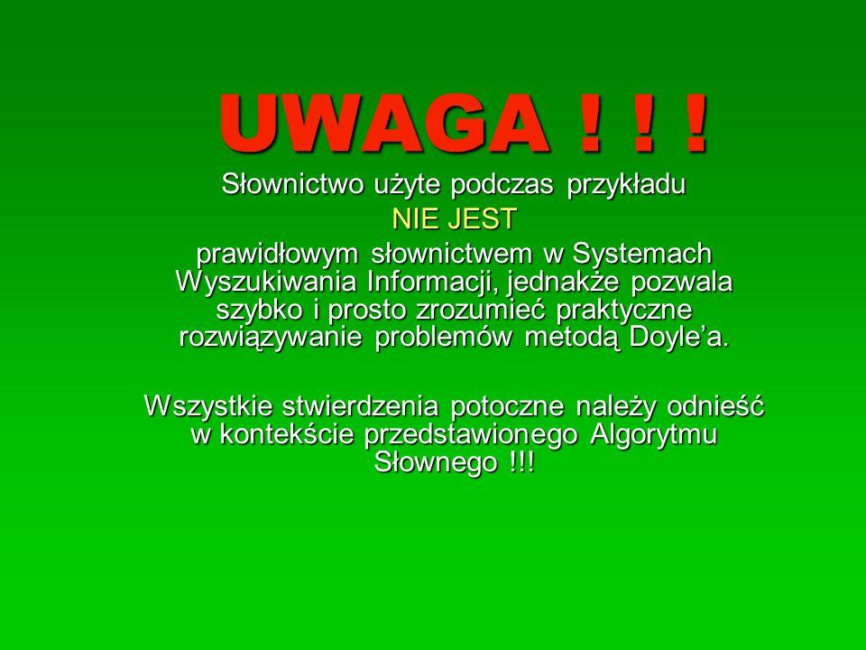 UWAGA ! ! ! Słownictwo użyte podczas przykładu NIE JEST prawidłowym słownictwem w Systemach Wyszukiwania Informacji, jednakże pozwala szybko i prosto