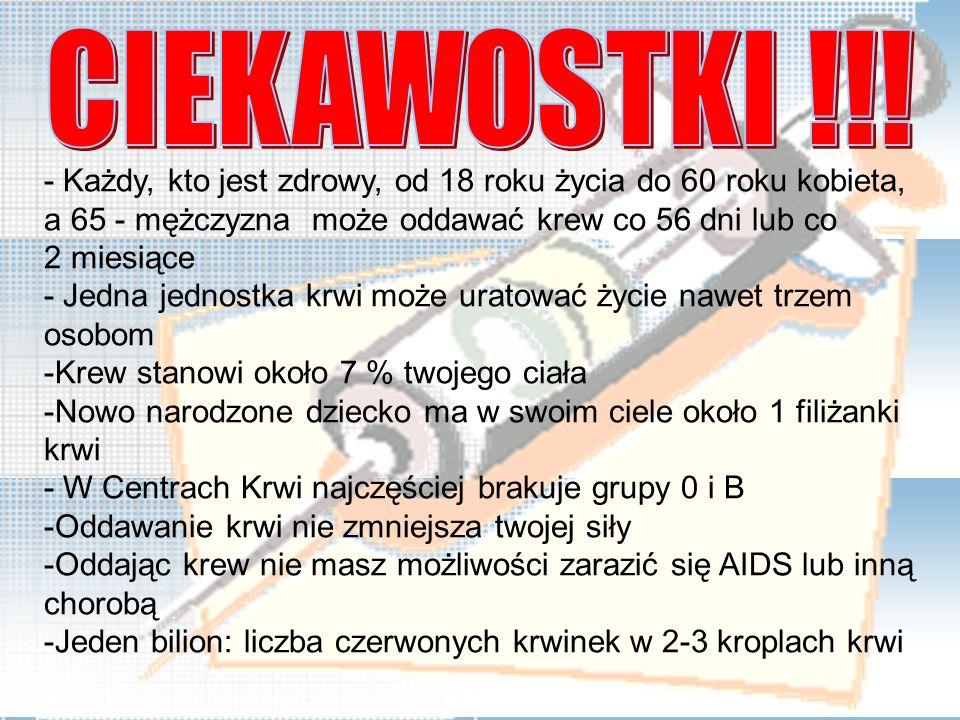- Każdy, kto jest zdrowy, od 18 roku życia do 60 roku kobieta, a 65 - mężczyzna może oddawać krew co 56 dni lub co 2 miesiące - Jedna jednostka krwi m