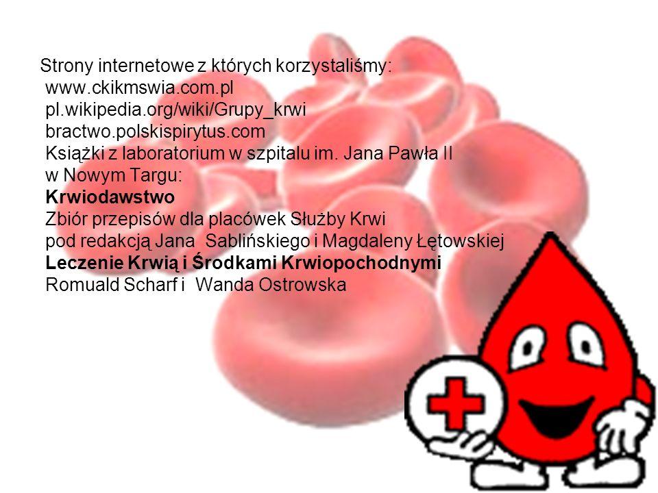 Strony internetowe z których korzystaliśmy: www.ckikmswia.com.pl pl.wikipedia.org/wiki/Grupy_krwi bractwo.polskispirytus.com Książki z laboratorium w