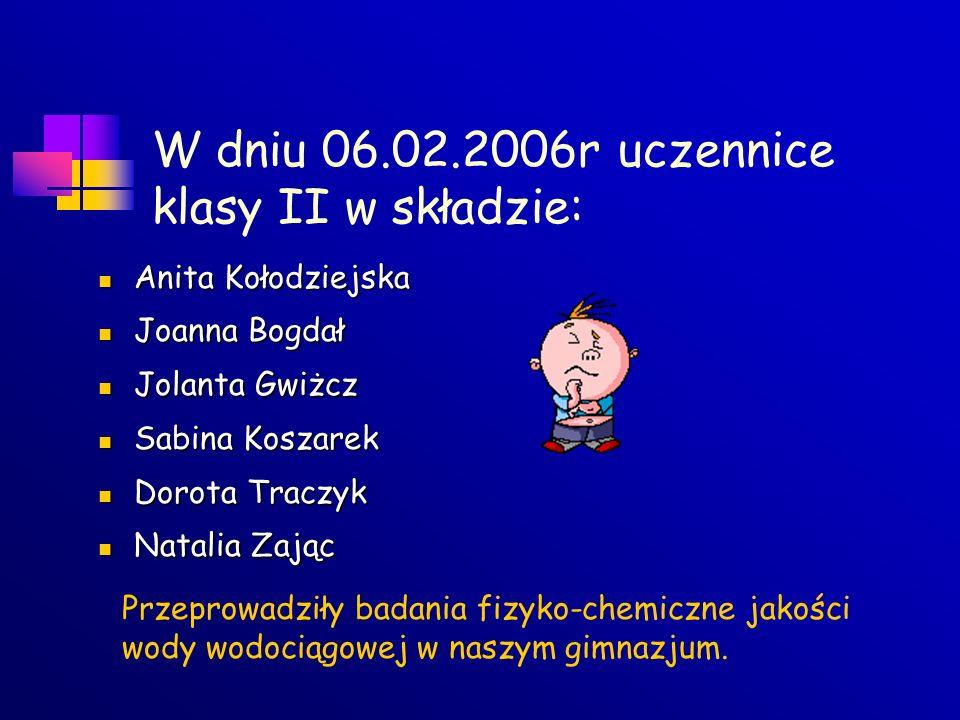 W dniu 06.02.2006r uczennice klasy II w składzie: Anita Kołodziejska Anita Kołodziejska Joanna Bogdał Joanna Bogdał Jolanta Gwiżcz Jolanta Gwiżcz Sabi