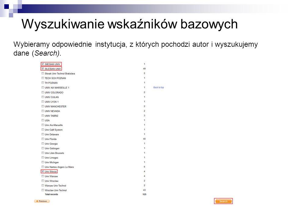 Wyszukiwanie wskaźników bazowych Wybieramy odpowiednie instytucja, z których pochodzi autor i wyszukujemy dane (Search).
